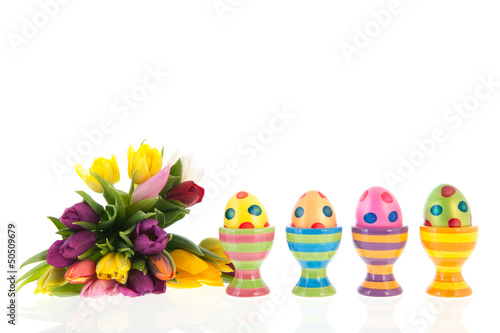 Painted easter eggs with flowers