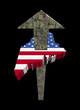 American dollars arrow and Maine map flag illustration