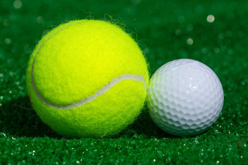 Tennis ball and golf ball