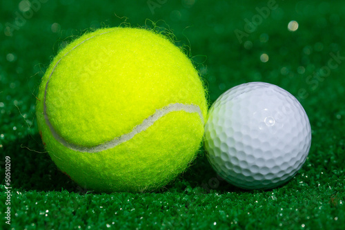 Tennis ball and golf ball