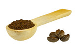 A spoonful of ground coffee