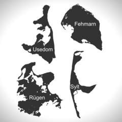 Landkarte - Insel- Usedom, Rügen, Sylt, Fehmarn (I)