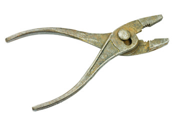 Old vintage pliers open on white background