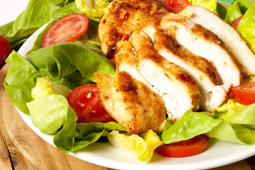 Chicken slices with salad