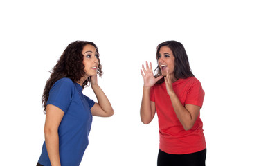 Funny girl shouting somethin to her friend