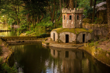 Ancient ducks house in the park of Pena Palace. Sintra, Portugal