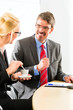 businesspeople in business office drink coffee