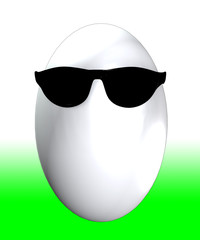 Easter egg that has got a cool pair of sunglasses.