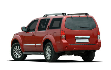 Rear side view of a red suv