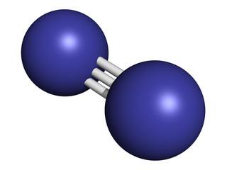 Elemental nitrogen (N2), molecular model.
