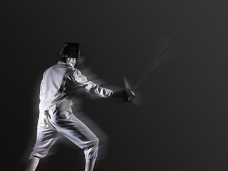 fencing player fighting