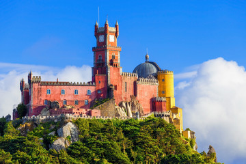 Panorama of Pena National Palace in Sintra, Portugal