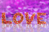 Word Love on purple background