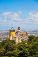 Panorama of Pena National Palace above Sintra town, Portugal
