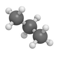 Propane fuel molecule, molecular model