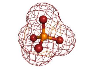 Phosphate, molecular model