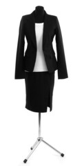 White blouse and black skirt with coat