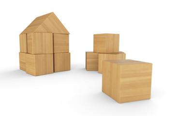 Wir bauen uns ein Haus aus Bauklötzen