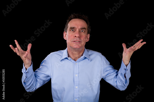 Angry Frustrated Business Man Hands Raised