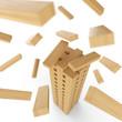 Holzturm aus Bauklötzen in Bewegung 3