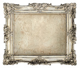Fototapety old silver frame with empty grunge canvas