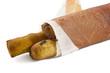 Italian prosciutto on a bread stick