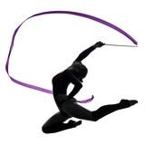 Rhythmic Gymnastics with ribbon woman silhouette poster