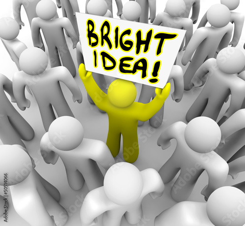 Bright Idea Person Holding Sign New Plan Suggestion