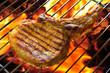 Grilled pork chop on the grill