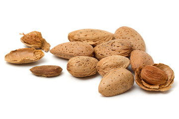 Group of almond. Isolated on a white background...