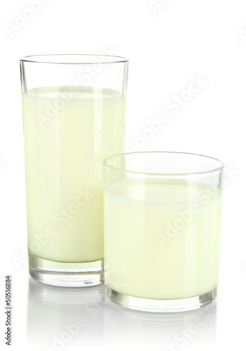 Two glass of milk isolated on white