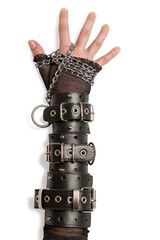 Hand in Leather Cuffs