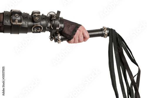 Hand in Leather Cuffs with Lash