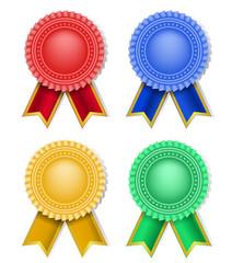 set of retro award and ribbons