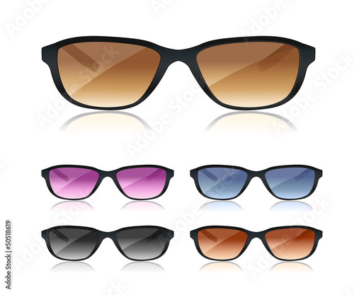 set of black sunglasses