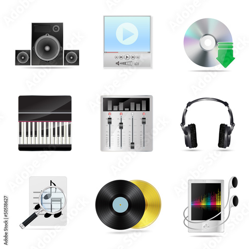 set of detailed musical icons