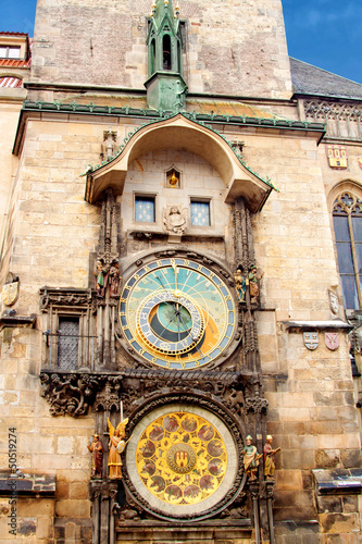 Famous astronomical clock at the Old Town square in Prague, Czec