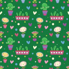 Cute cartoon flowers. Seamless pattern