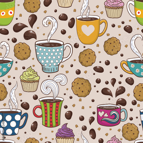 Sticker Coffee seamless  pattern