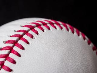 Baseball laces closeup