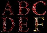 ABCDEF alphabet cloud/collage with alphabet shape