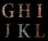 GHIJKL alphabet cloud/collage with alphabet shape