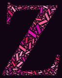 Z alphabet cloud/collage with alphabet shape