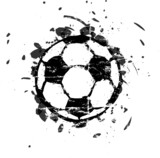 grungy soccer ball, isolated, vector illustration