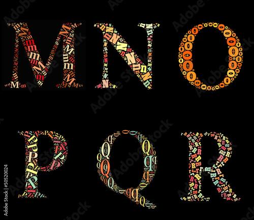 MNOPQR alphabet cloud/collage with alphabet shape