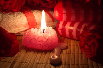 soap, candle and roses