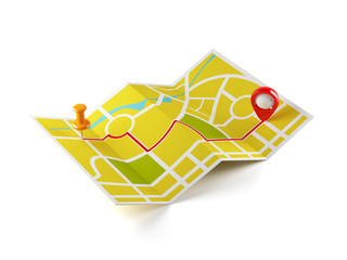 Navigation map with guide line