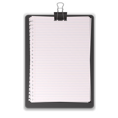Black Clipboard With Paper Lined