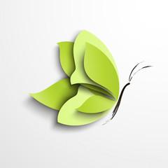 Green paper butterfly