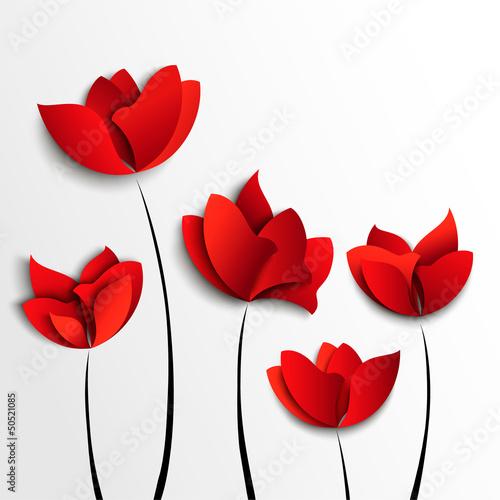 Fünf rote Papierblumen